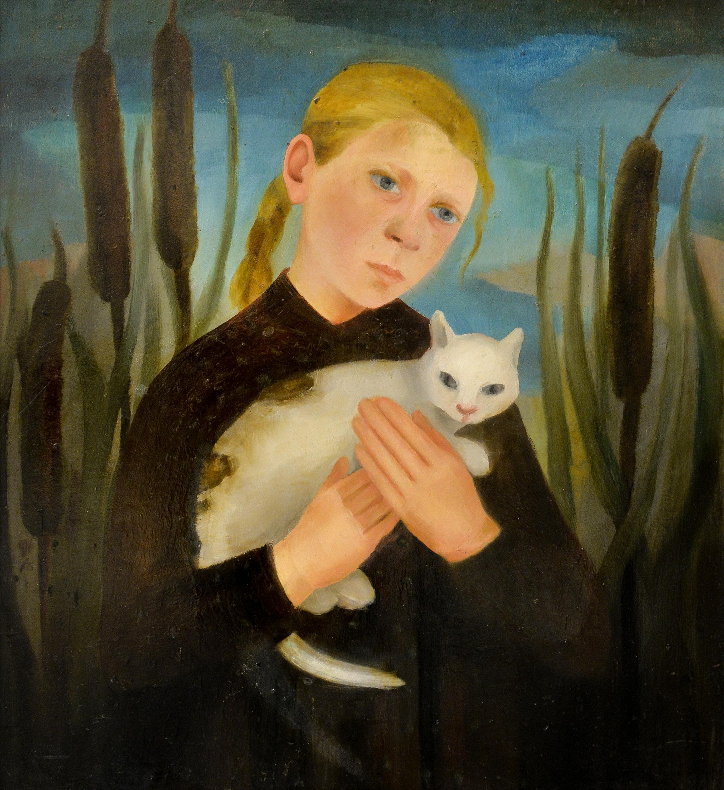 Kathe Diehn-Bitt, Kind mit Katze, 1953