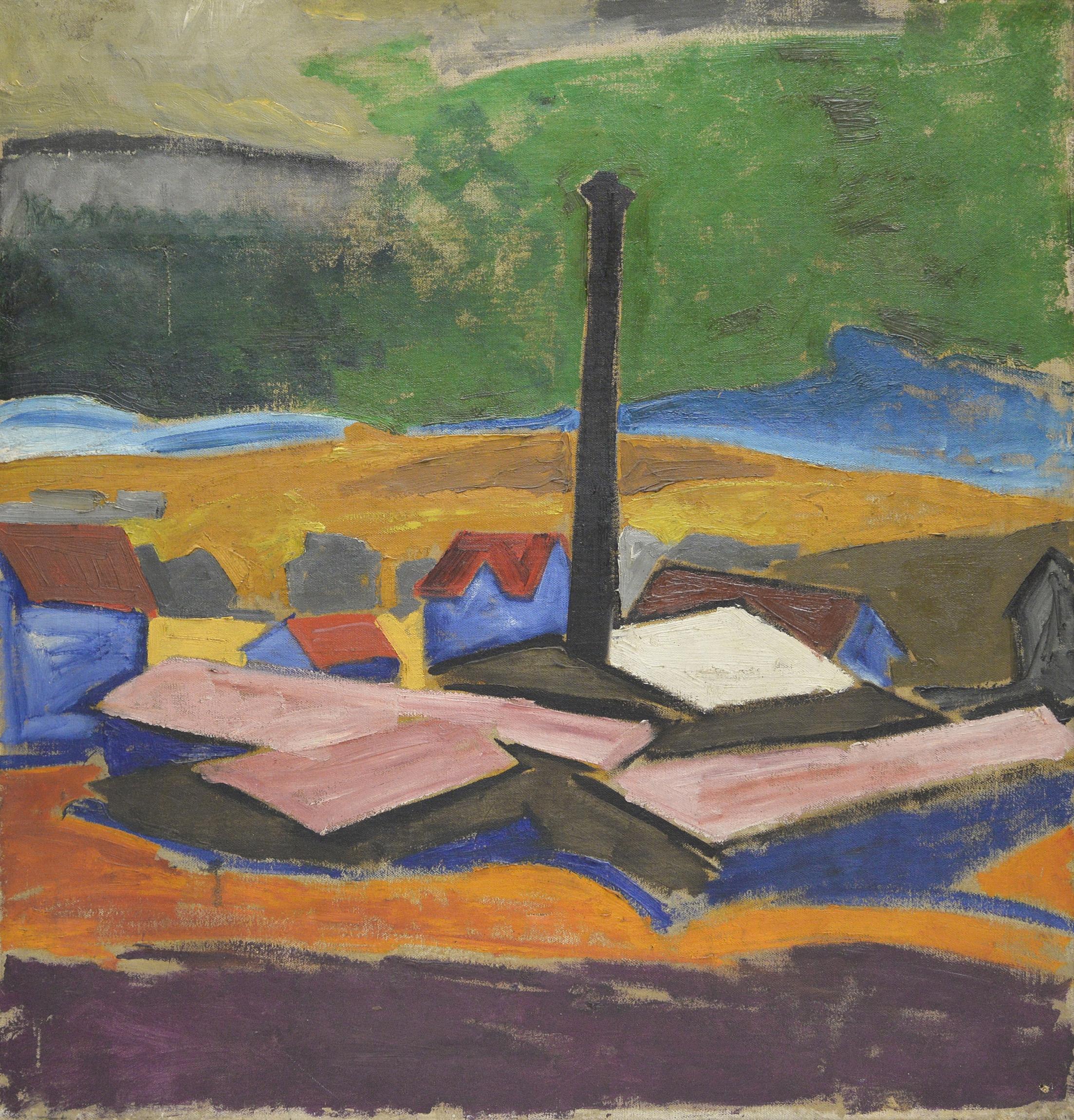 Carl Lohse, Landschaft mit Fabrikschornstein, um 1919