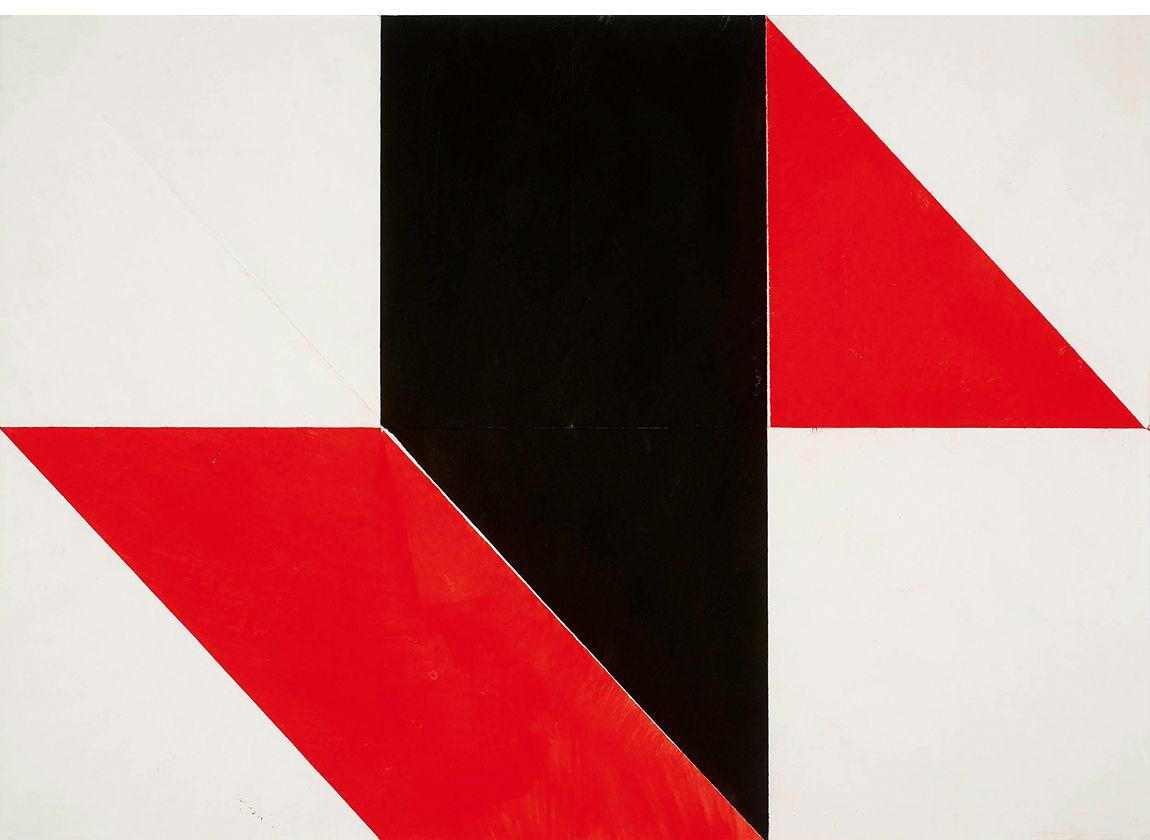 Herrmann Glöckner, Faltung Rot/Schwarz auf Weiß Nr.1 1978, Sammlung der Kunsthalle Rostock