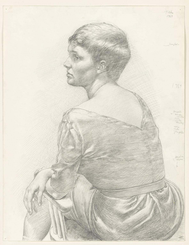 Werner Tübke, Rückenansicht einer sitzenden Frau, © Galerie Schwind Leipzig