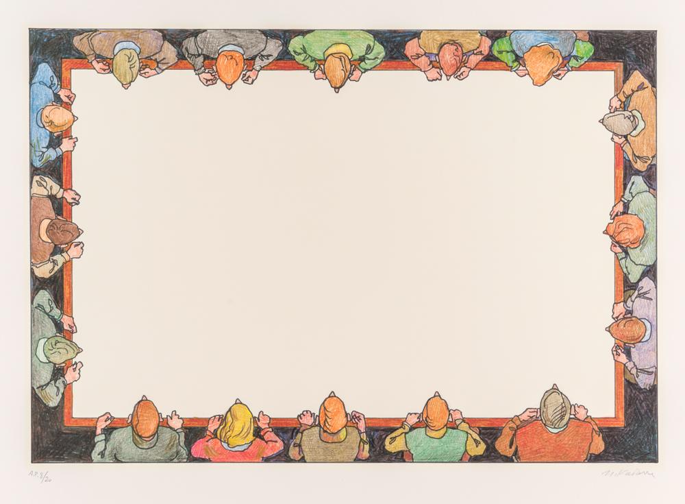 Ilya & Emilia Kabakov They Are Looking Down 1998 Auflage 70 Siebdruck 69,9 x 87,9 cm (Blatt) courtesy Ilya & Emilia Kabakov und Mike Karstens Galerie © VG Bild-Kunst, Bonn 2018 Foto: Marc Guddorp