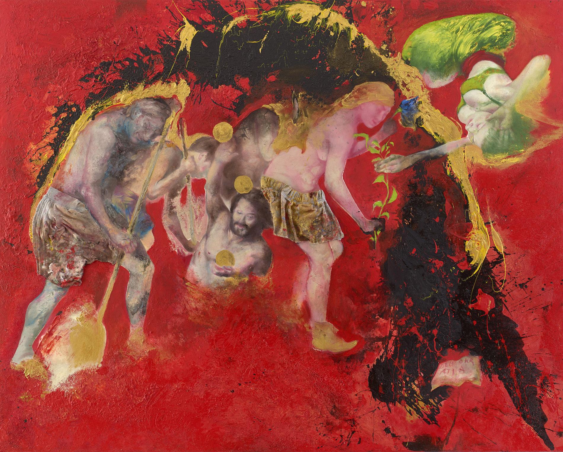 Sabina Sakoh, Serie Demokratia, The Raft number fourteen, 2016, Öl auf Leinwand, Stoff, 200 x 250 cm, courtesy Galerie Michael Schultz, Foto: Alexander Winterstein