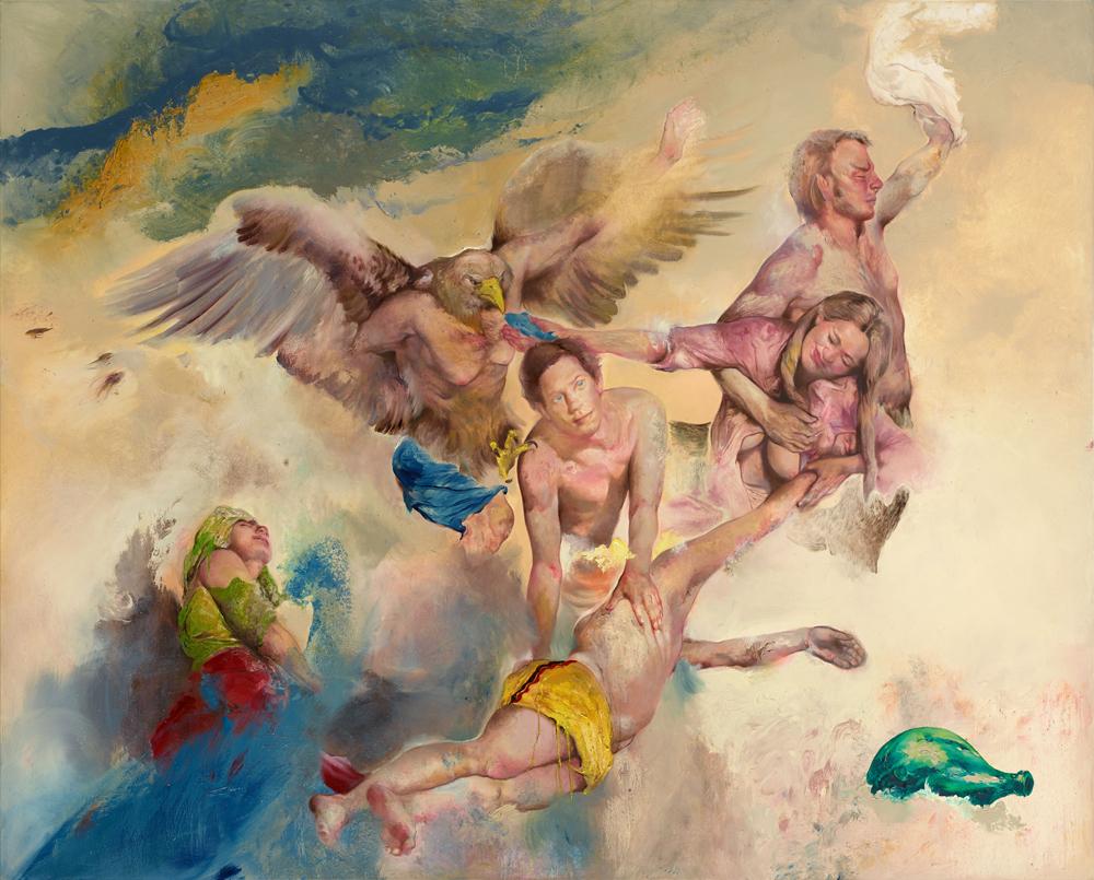 Sabina Sakoh the raft number four 2015 Öl auf Leinwand 200 x 250 cm Courtesy Galerie Michael Schultz Foto: Eric Tschernow