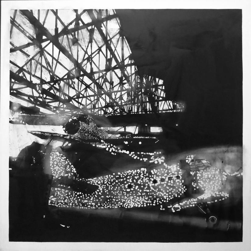 Darja Rybina aus der Serie Black Flows Upwards 2014/15 Tusche auf Papier (Autorentechnik) 135 x 135 cm © Darja Rybina
