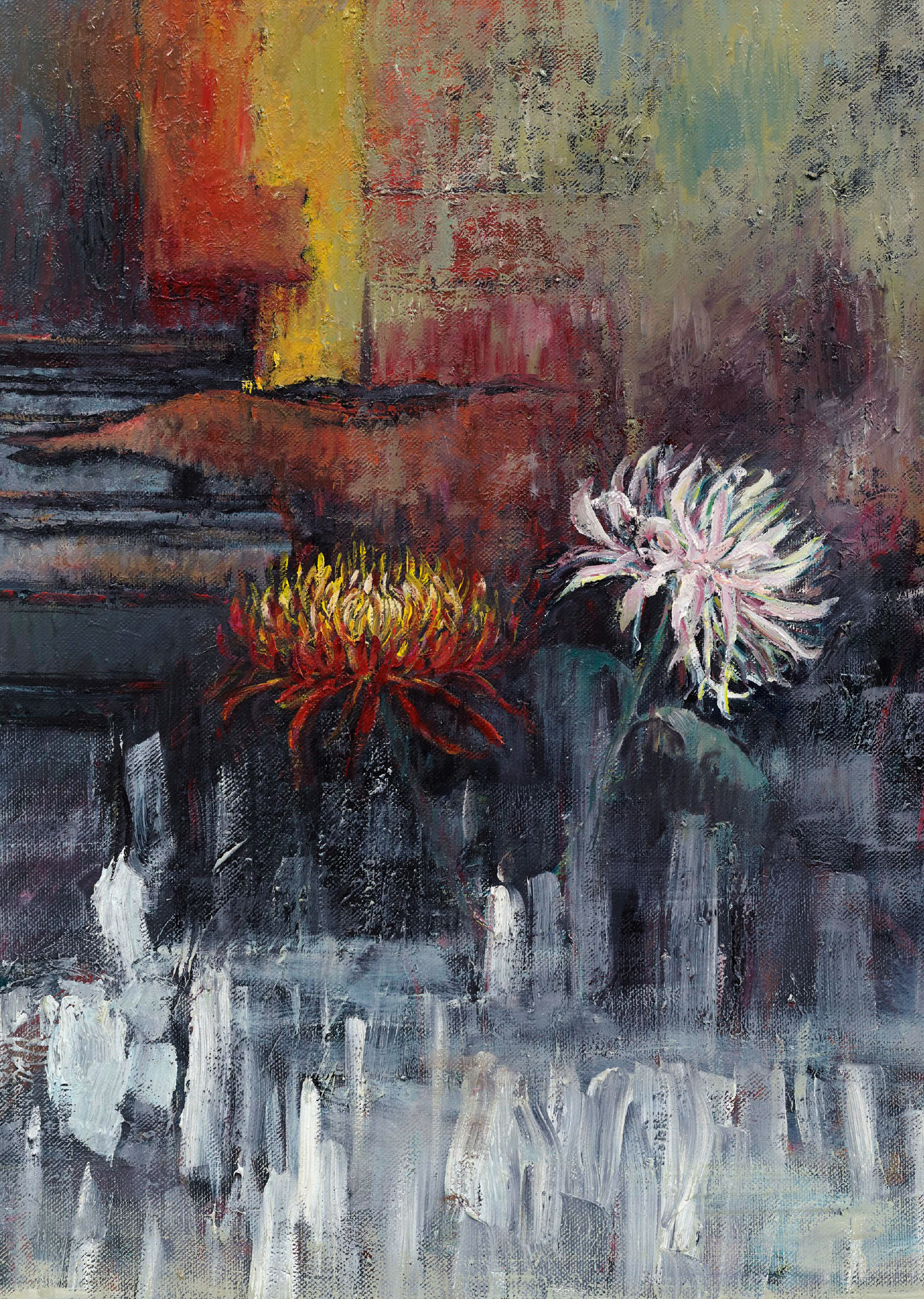 Sabine Moritz  Zwei Chrysanthemen (Braque) 2015 Öl auf Leinwand 81 x 60.5 cm  © Sabine Moritz 2019