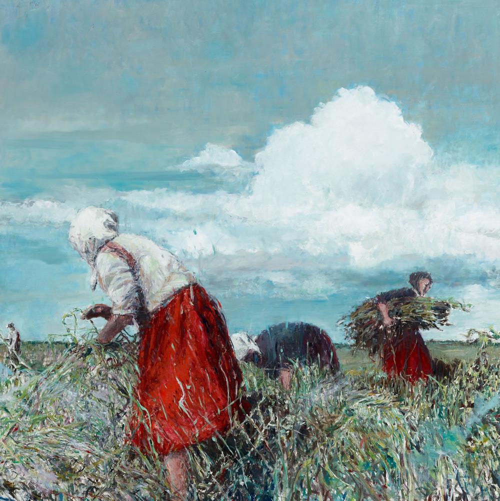 Sabine Moritz  Der rote Rock 2015 Öl auf Leinwand 150 x 150 cm  © Sabine Moritz 2019