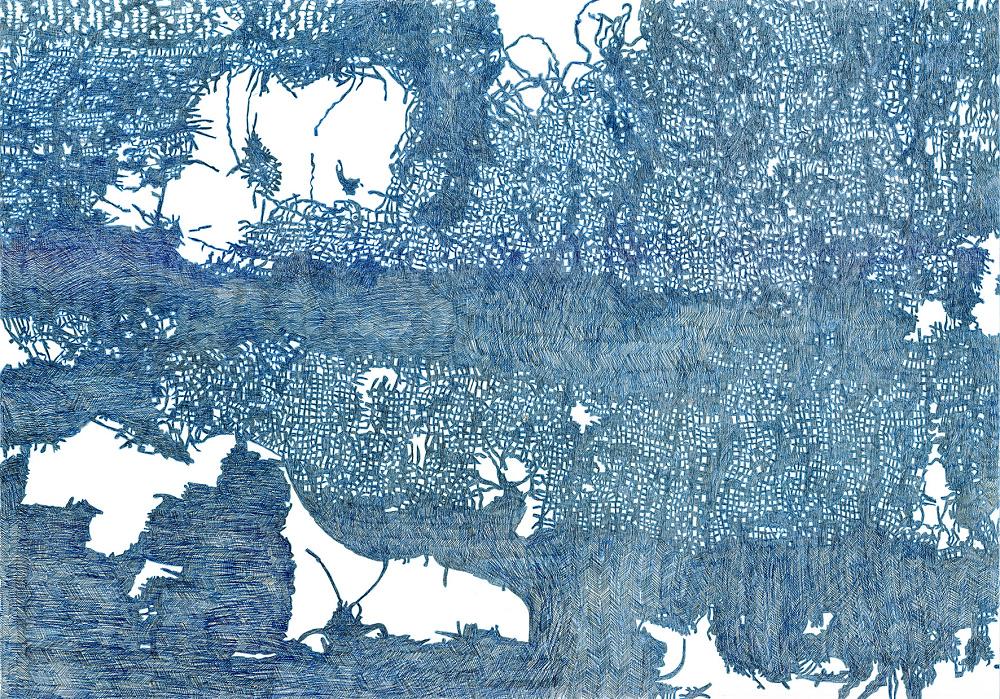 Juliane Laitzsch – Zeitmaschine Zeichnung  Juliane Laitzsch, Imaginierte Rückseite eines spätantikes Textilfragments, Zeichnung, 2016