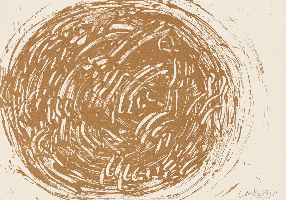 Motiv 36 aus Huldigung an Hafez  2015 Sanddruck, Terragrafie auf Römerturm Bütten Antikweiß 360 g l. u. nummeriert, r. u. Uecker 015 70.00 x 100.00 cm 70 arabisch, 30 römisch, 10 persisch nummerierte Exemplare zzgl. e.a. Foto: Ivo Faber