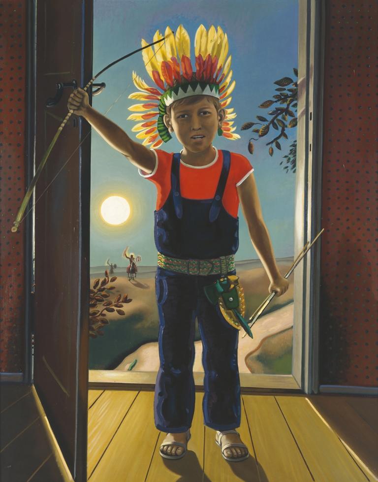 """Wolfgang Mattheuer """"Richard der Indianer"""" 1973, Öl auf Hartfaser, 125 x 100 cm Privatsammlung Leipzig VG Bild-Kunst Bonn 2021"""