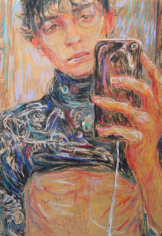 Ulrike Theusner Taylor (The Sea), 2019 Pastell auf Papier 50 x 35 cm Privatsammlung Kirchner courtesy Galerie EIGEN + ART Leipzig/Berlin