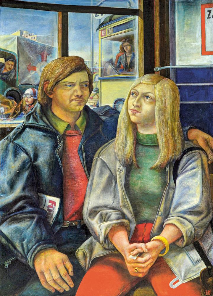 Ulrich Hachulla Junges Paar in der Straßenbahn, 1971 Mischtechnik auf Leinwand 125 × 90 cm Kunsthalle Rostock (c) VG Bild-Kunst, Bonn 2021 Foto: Kunsthalle Rostock